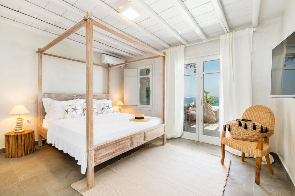 Agios Ioannis beach Cyclades luxury bohemian family villa in Mykonos island the Ioannou residence kids love greece accommodation for families