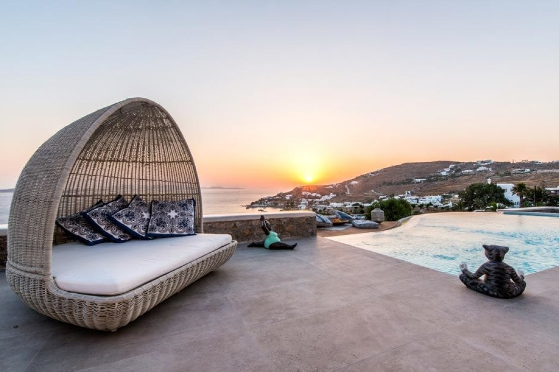 luxury bohemian family villa in Mykonos island the Ioannou residence Agios Ioannis beach Cyclades kids love greece accommodation for families