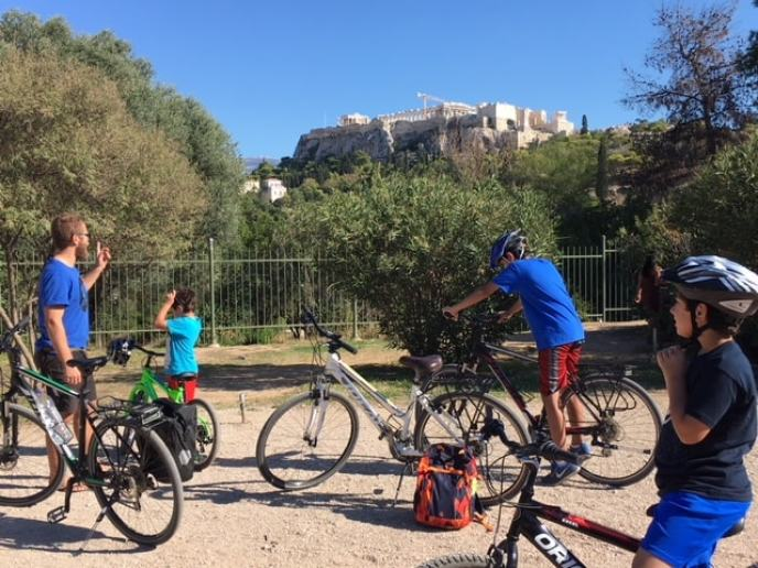 See Athens by Βike Family biking activity in Athens specially designed private city tour kidslovegreece Greece children sightseeing Acropolis experience amazing bicycles cycling monuments