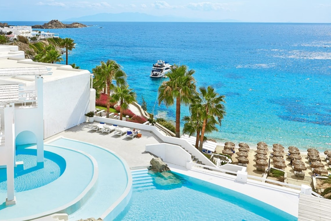 The Mykonos Blu Grecotel Exclusive Resort Hotel private beach best accommodation luxury high standards Cyclades Greece families kidslovegreece Psarou greek islands