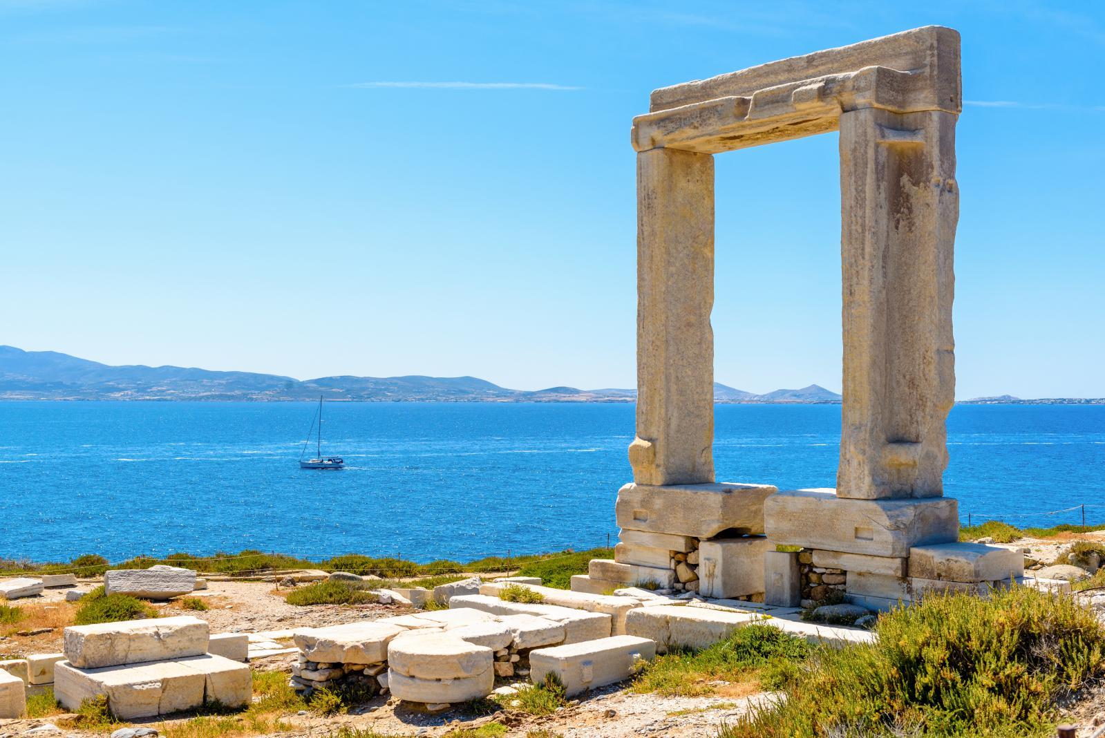 Portara entrance of port at Naxos island
