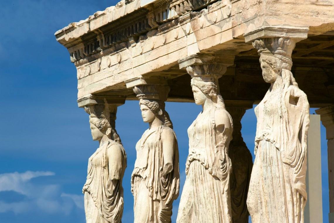 Karyatides statues in Acropolis
