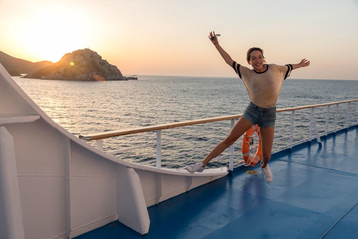 Island hopping ferry in Greece teen