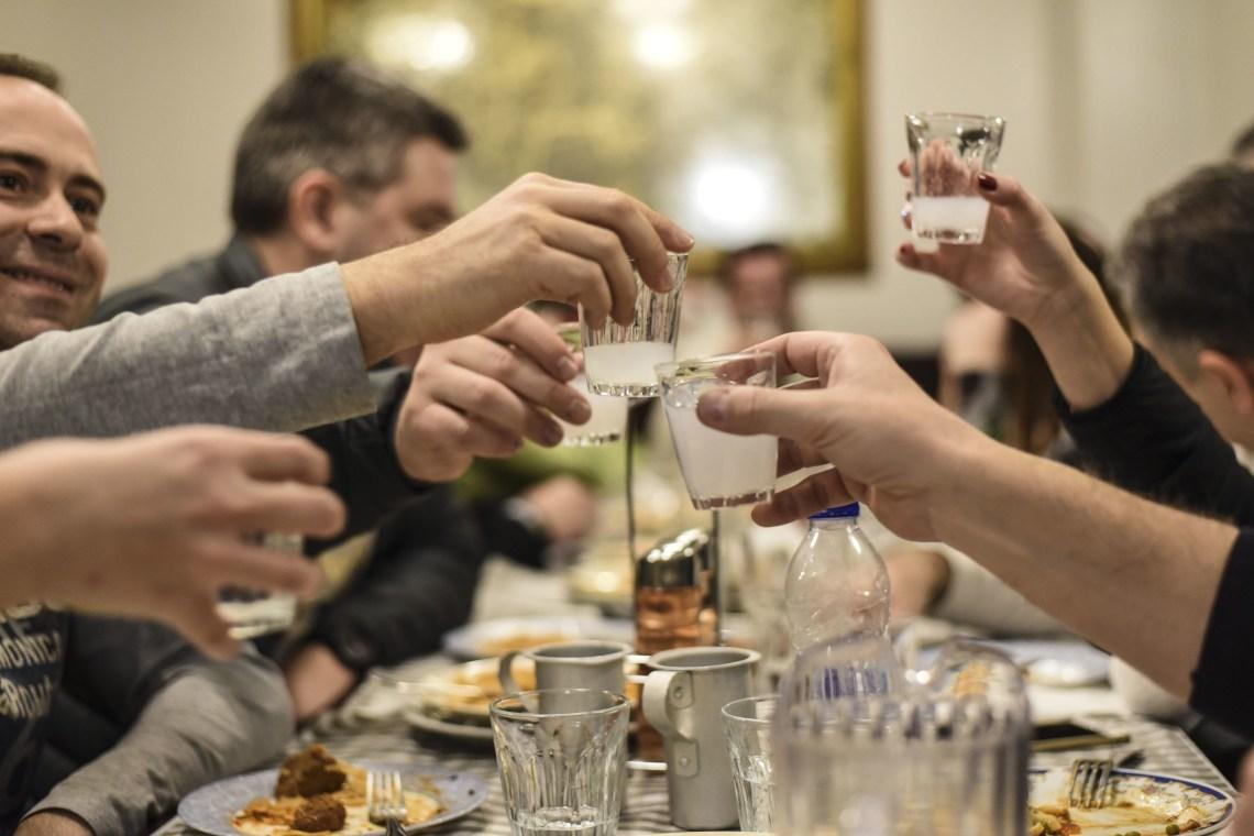 Athens Food Tour for families ouzo