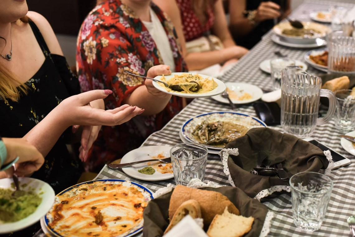Athens Food Tour for families plates with food
