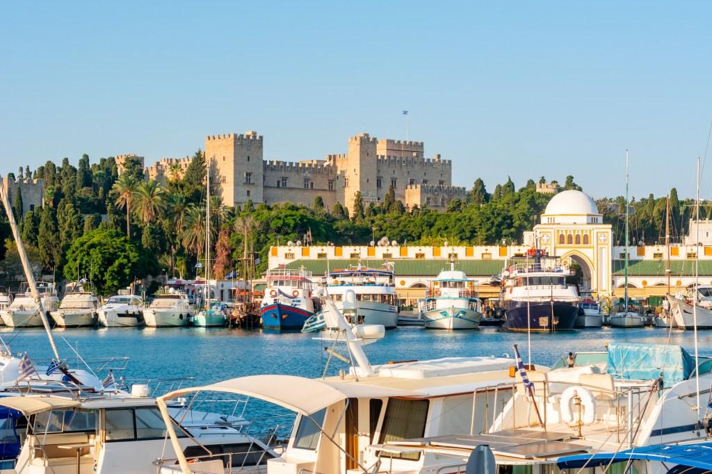Mandraki harbor with Rhodes fortress