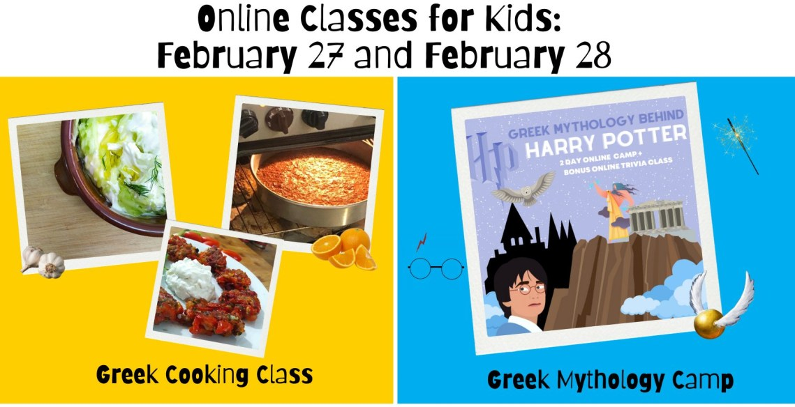 Online Cooking and Greek Mythology Class for kids February
