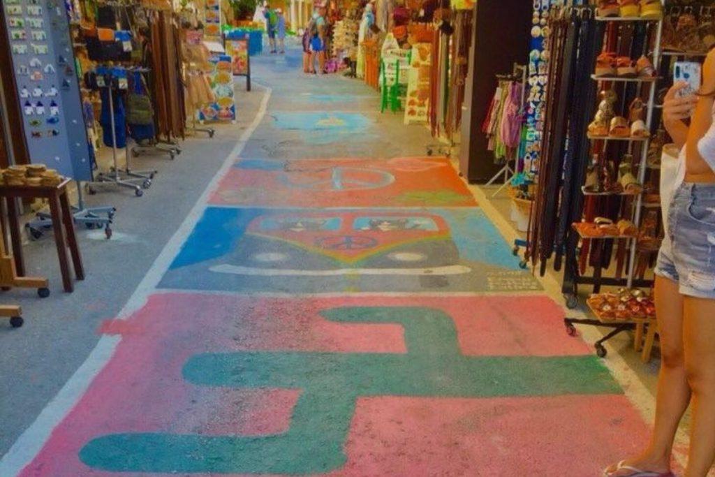 Matala Village Crete Hippies Town MT Matala colorful pedestrian road
