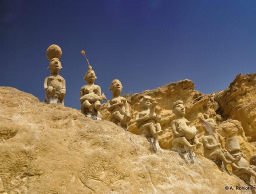 Minoan curvings Red Sand Beach near Matala Roniotis Cretan Beaches