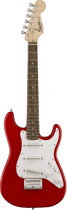 7-10 electric Squier Mini Strat red trans