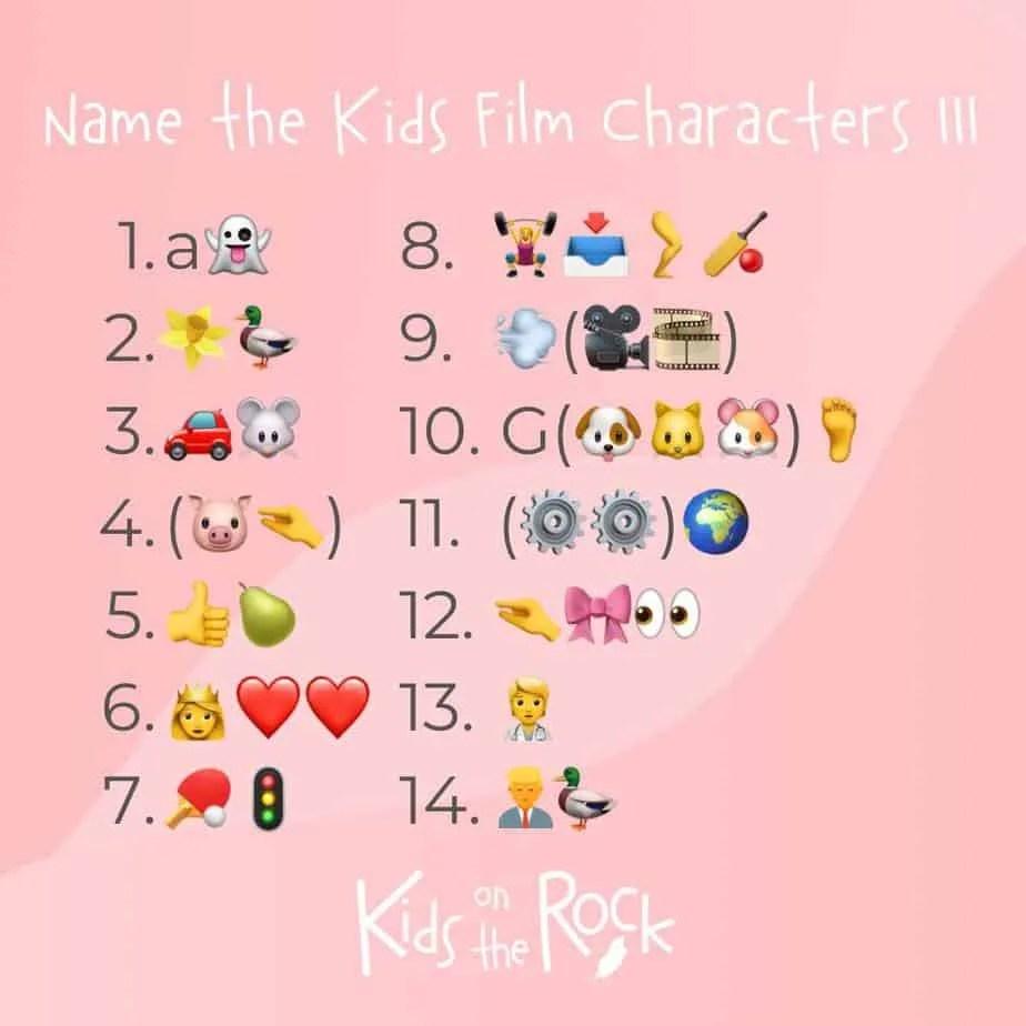 Name the Kids Film Characters III