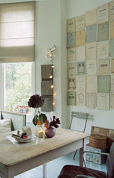 Old Sheet Music Used As Wall Art For Kids Room Design In Vintage Style