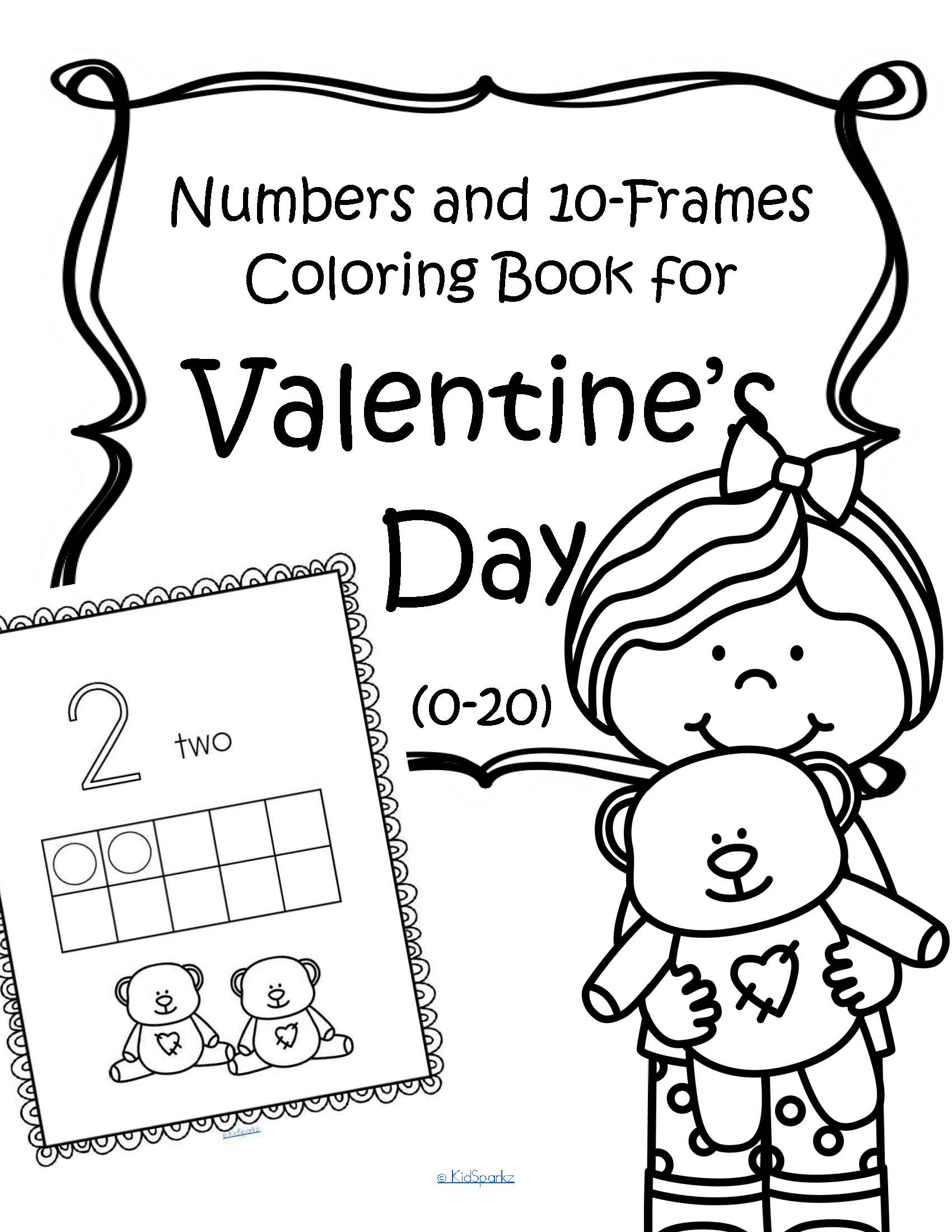 Valentine S Day Numbers And 10 Frames Coloring Book