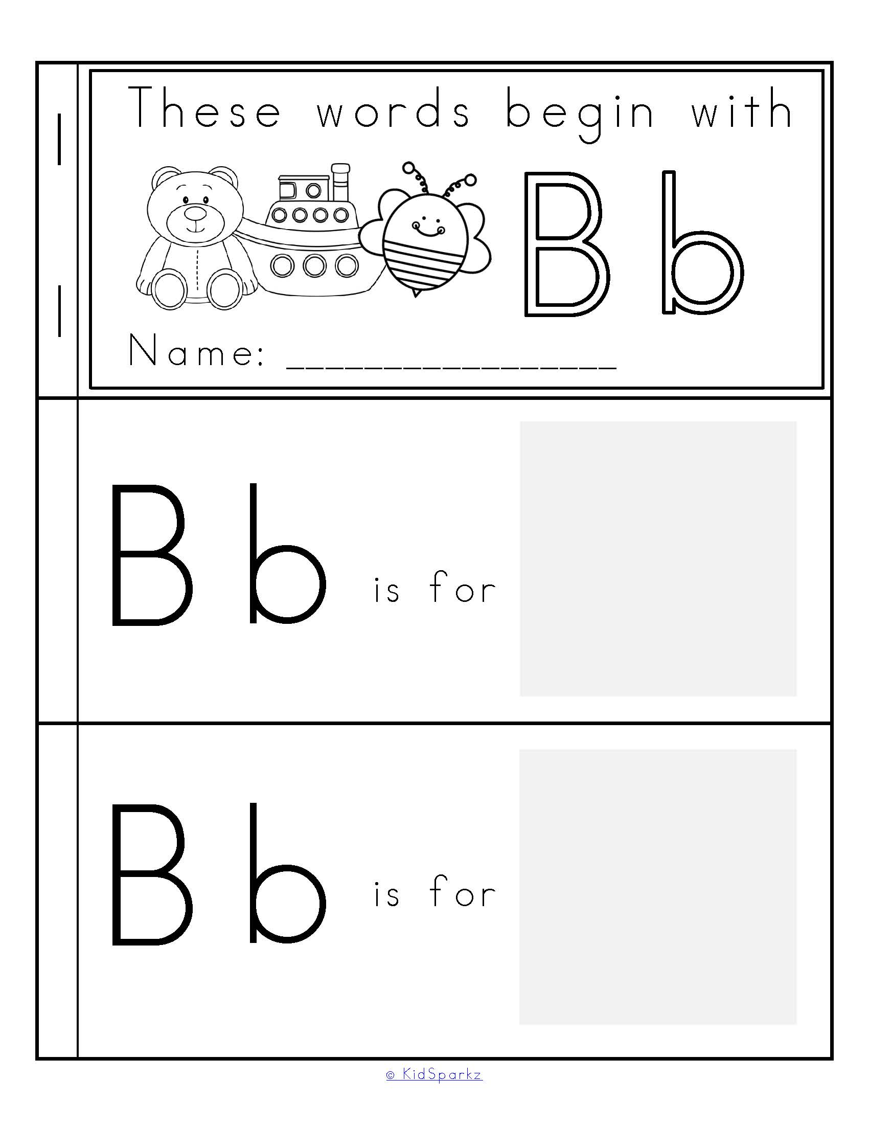 Alphabet Strip Booklets Beginning Sounds Cut And Paste B W