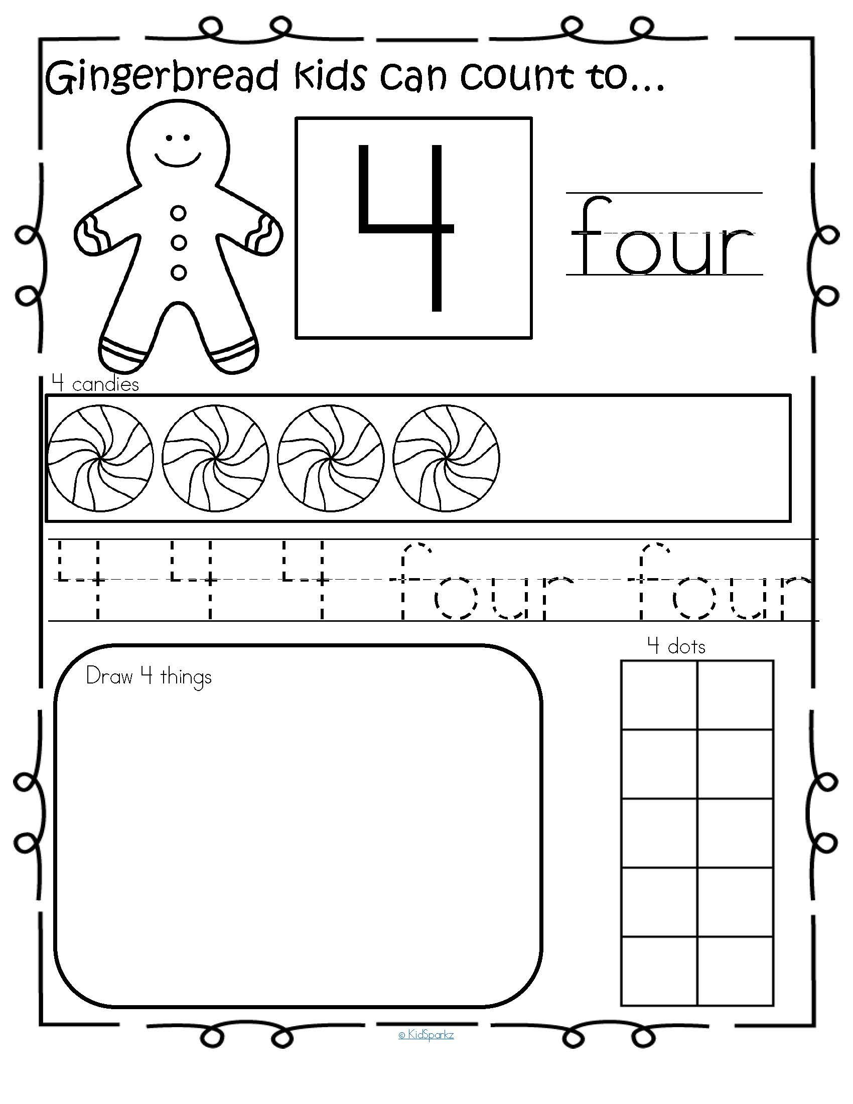 Gingerbread Number Practice Printables 1 20 No Prep