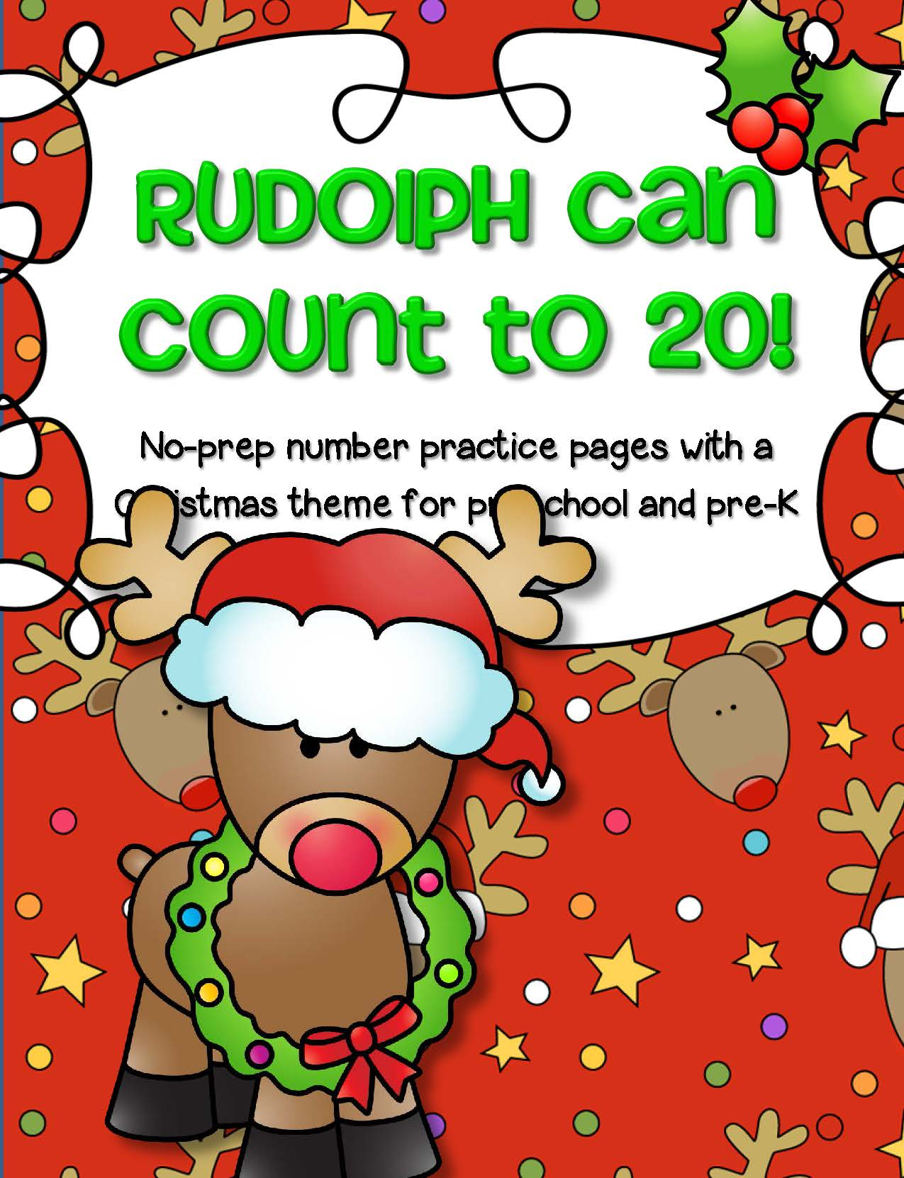 Christmas Rudolph Number Practice Printables