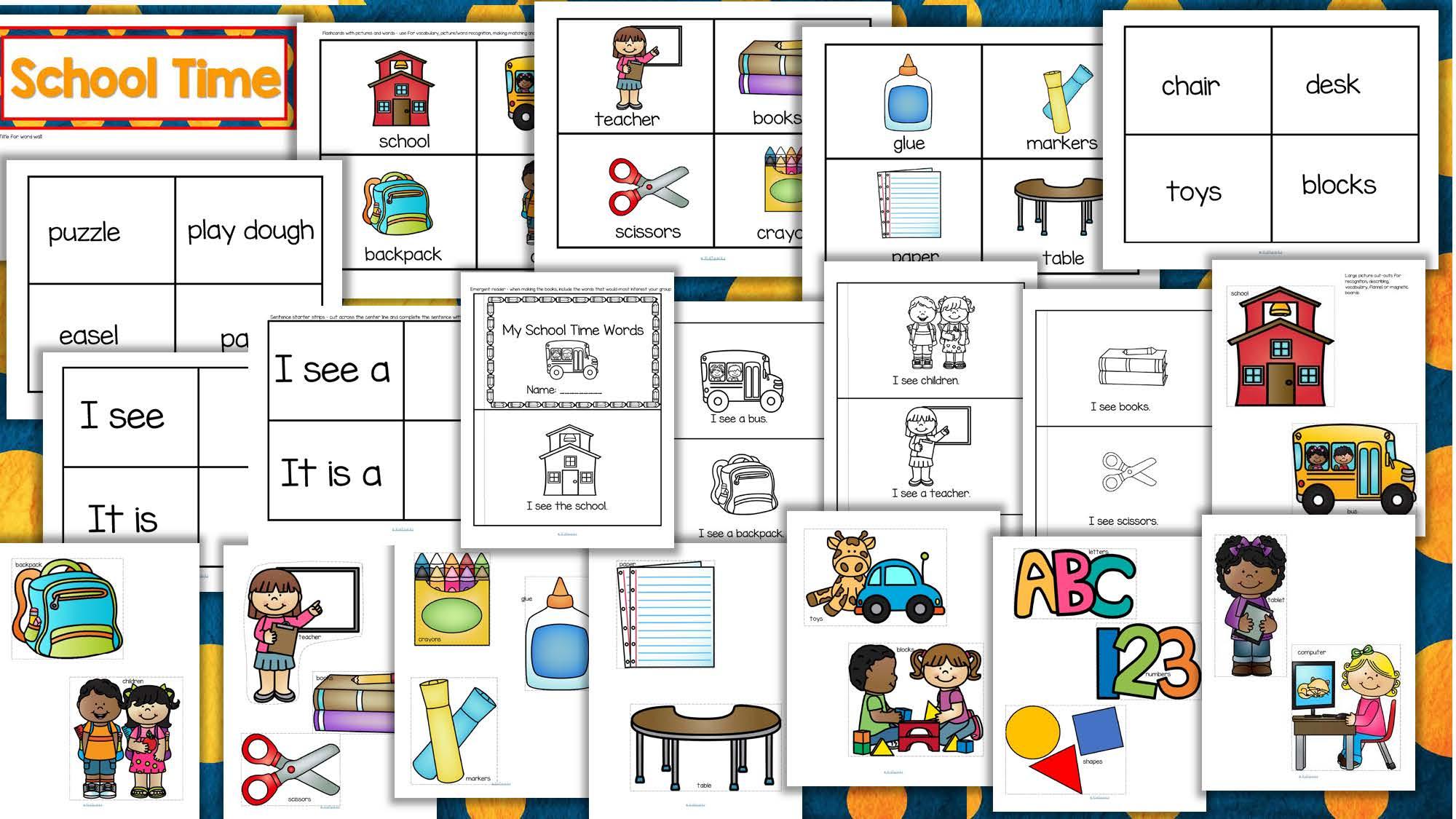 Back To School Vocabulary Center Amp Group Activities For Preschool Amp Kindergarten