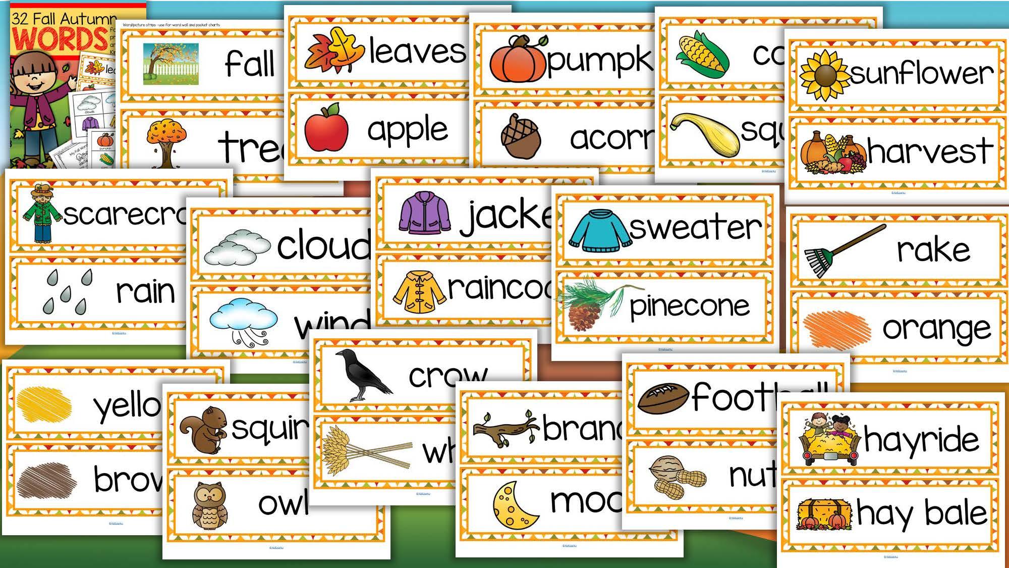 Fall Autumn Vocabulary Center Amp Group Activities For Preschool Amp Kindergarten
