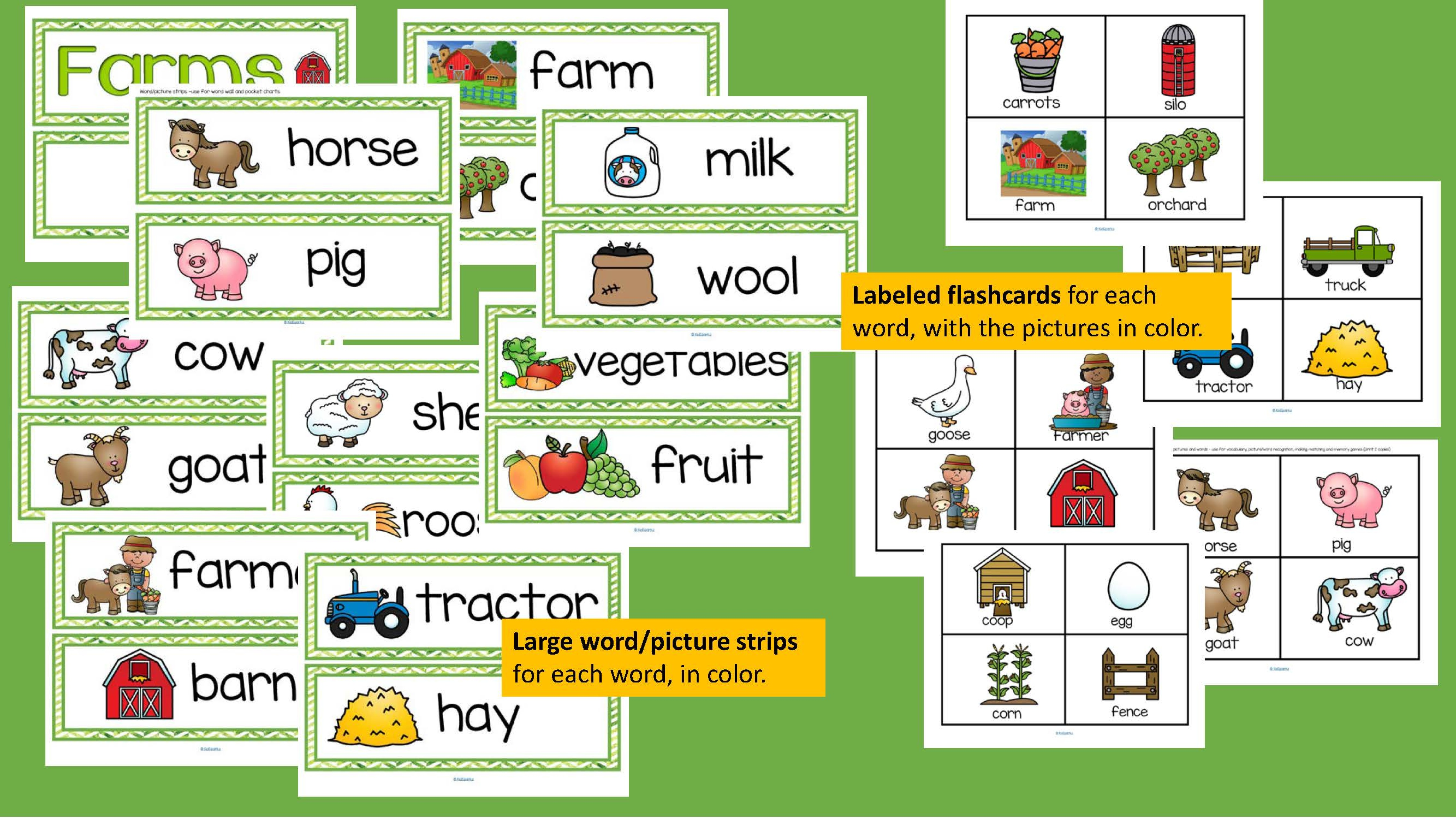 Farms Vocabulary Words Center Amp Group Activities For