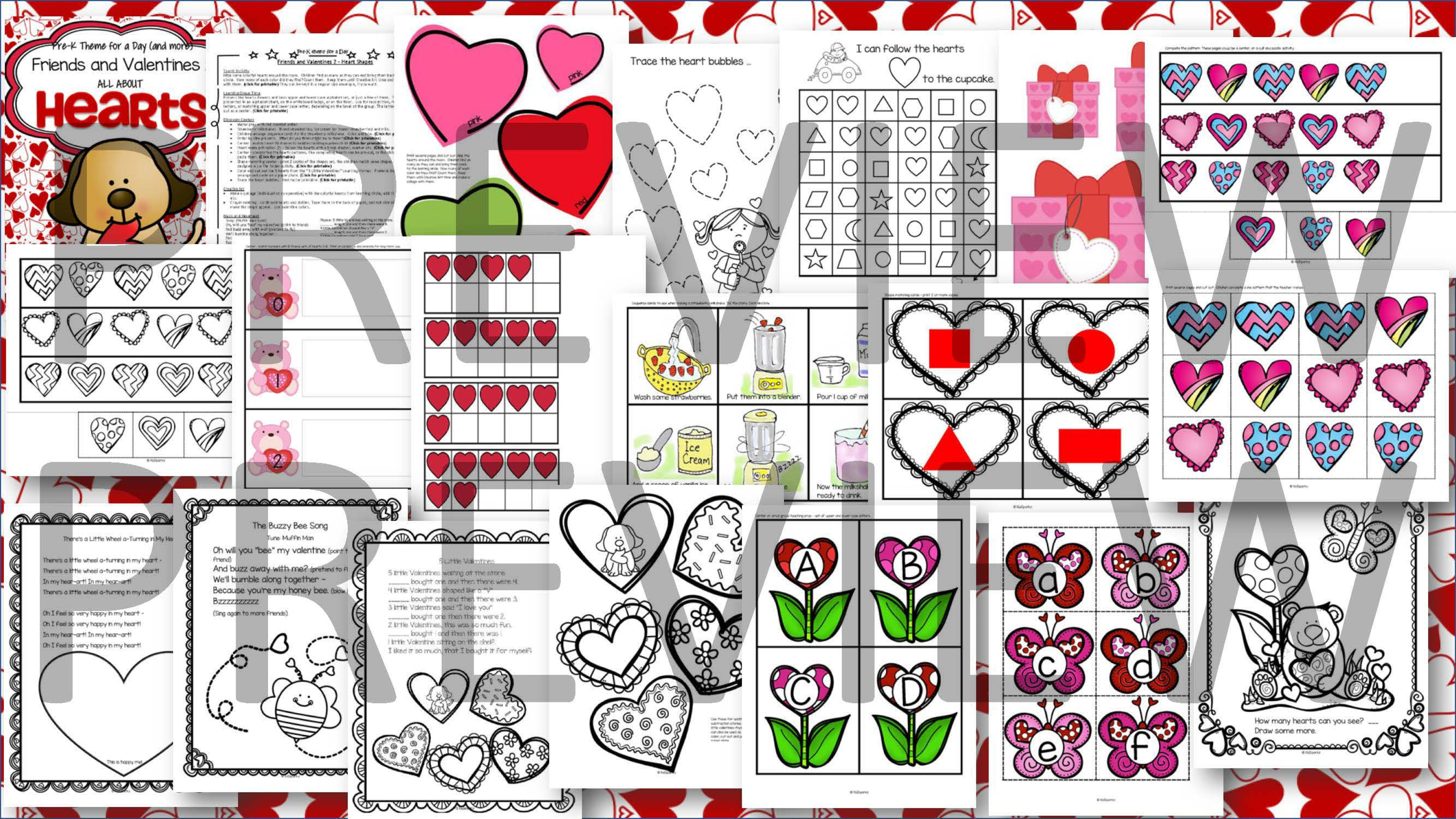 Hearts And Valentines Centers Activities And Printables For Preschool And Pre K