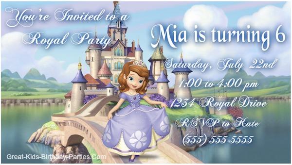 sofia the first invitations