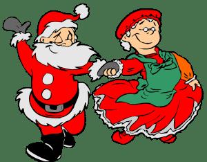 Santa Claus and Mrs. Claus dancing cartoon image