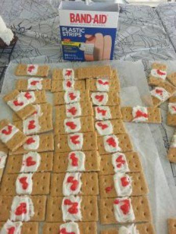 Halloween band-aid snacks
