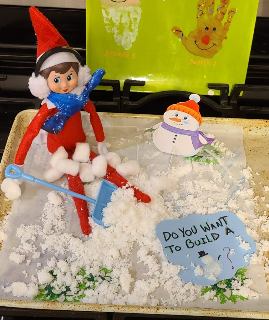 elf on shelf in the snow
