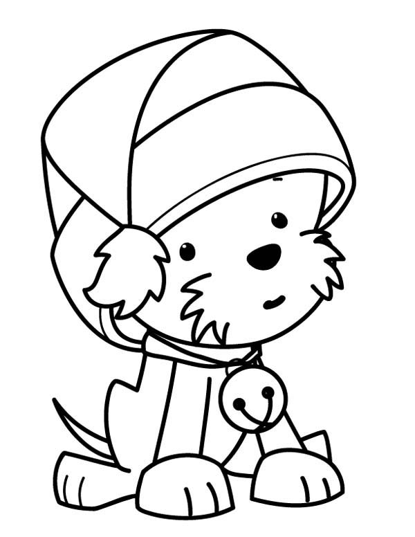 a cute little dog wearing santas hat on christmas coloring page