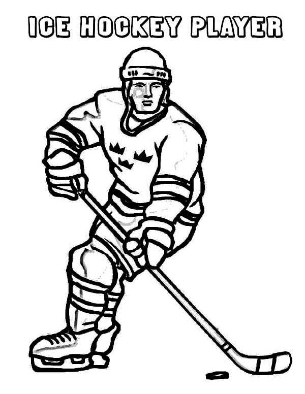 hockey player on winter sport coloring page kids play color