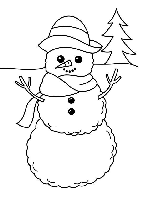 a simple winter snowman figure coloring page kids play color