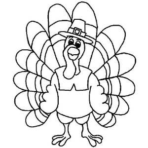 pretty thanksgiving day turkey in cartoon coloring page pretty