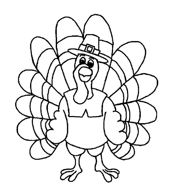 funny thanksgiving day turkey wearing pilgrim hat coloring page