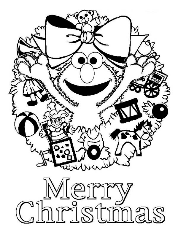 merry christmas from elmo coloring page kids play color