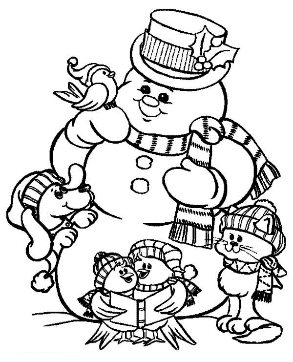 christmas mr snowman and friends celebrating christmas coloring