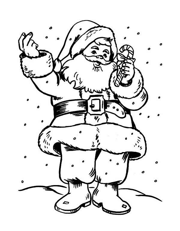 santas holding a sweet candy cane coloring page kids play color