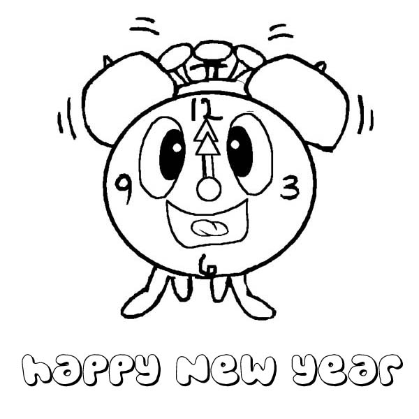 the funny clock greetings the new year coloring page kids play color