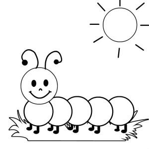 caterpillar in the tree branch coloring page kids play color