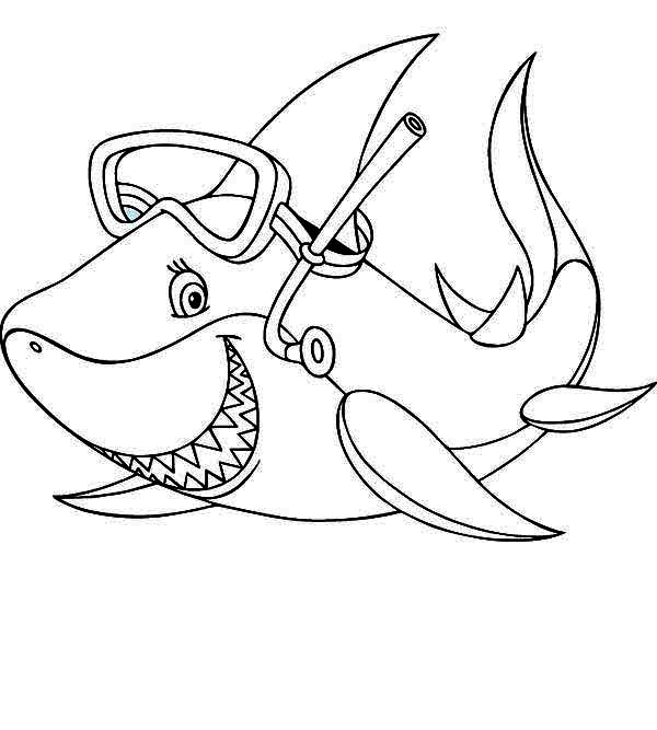 this shark is seeing something funny coloring page kids play color