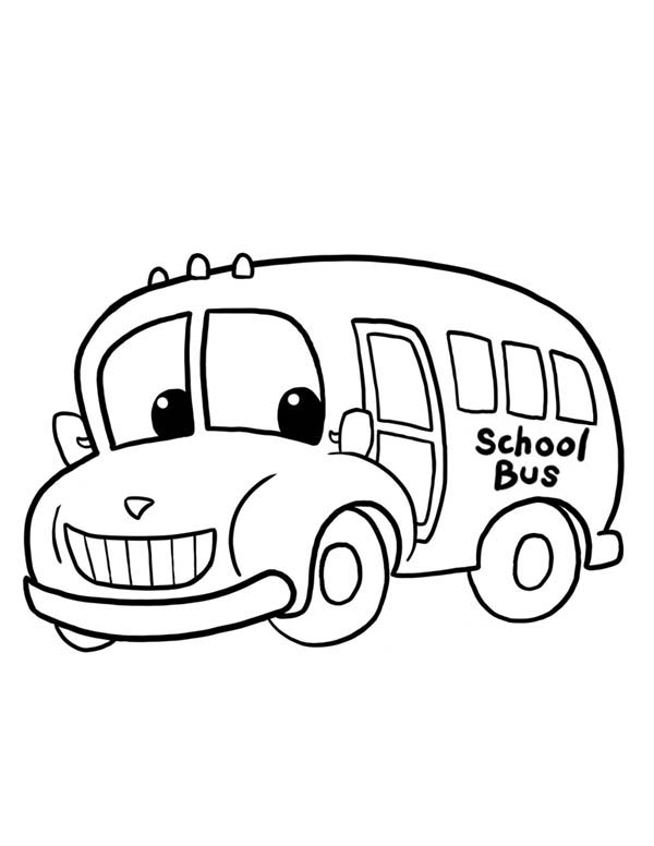a funny school bus ready to work coloring page kids play color