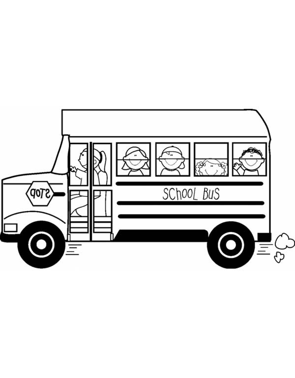 a happy school field trip on school bus coloring page kids play