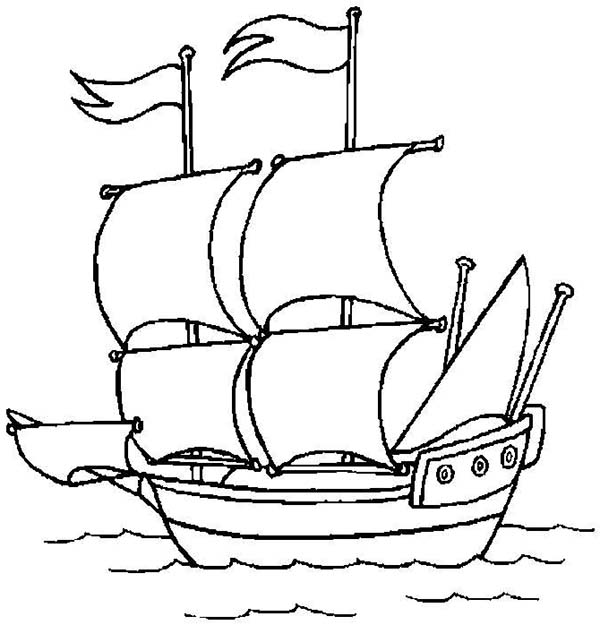 pirate ship open sail to the ocean coloring page kids play color