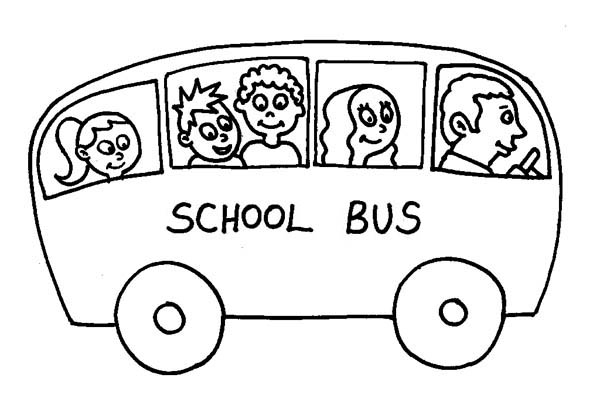 a small school bus on a ride coloring page kids play color