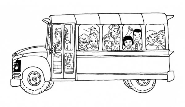 all the students inside the magic school bus coloring page kids