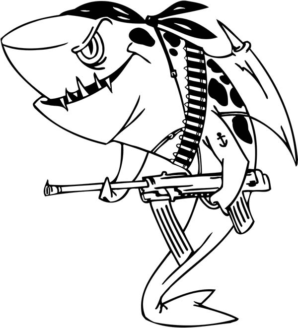 an illustration of pirate shark coloring page kids play color