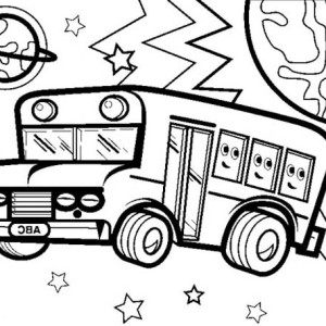 a funny school bus at the stop sign coloring page kids play color