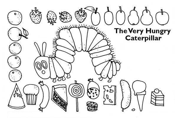 caterpillar surrounding with lots of tasty treat coloring page