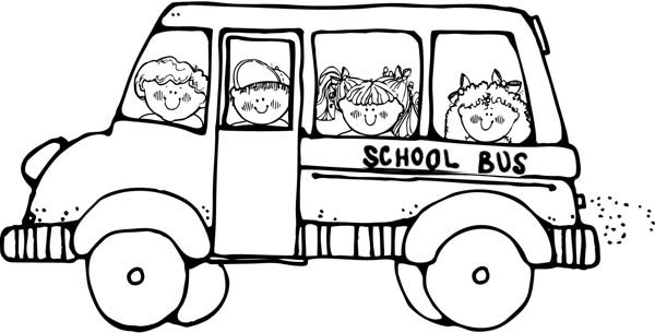 doing a field trip on a school bus coloring page kids play color