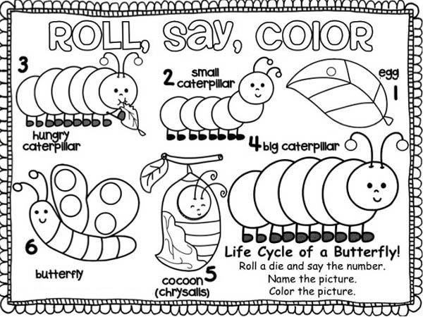 from caterpillar into a butterfly coloring page kids play color