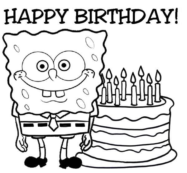 spongebob says happy birthday coloring page kids play color